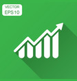 growing bar graph icon in flat style increase vector image vector image