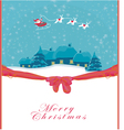 Happy New year card with Santa and winter landscap vector image vector image