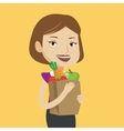 Happy woman holding grocery shopping bag vector image vector image