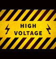 high voltage warning plate old danger sign with vector image vector image