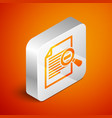isometric document with search icon isolated on vector image
