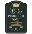 label for whiskey with crown and ribbon vector image vector image