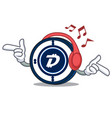 listening music digibyte coin mascot cartoon vector image vector image