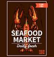 lobster crawfish sketch poster for seafood market vector image vector image