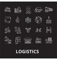 logistics editable line icons set on black vector image vector image