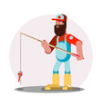 man standing with fishing rod vector image vector image