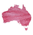 map of australia with a pink paint texture with vector image