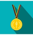 Medal with burning torch on a color ribbon vector image vector image