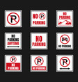 no parking signs set parking is prohibited icons vector image vector image