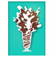 paper cut chocolate flavored milkshake vector image