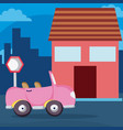 pink convertible car on neighborhood vector image