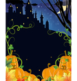 Pumpkins with leaves and old haunted castle vector image vector image