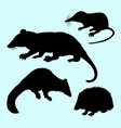 rat mice weasel and hedgehog silhouette vector image vector image