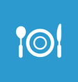 restaurant icon white on blue background vector image
