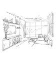 Room interior sketch Hand drawn sofa and chair vector image vector image