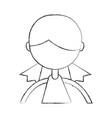 sketch draw upper body girl cartoon vector image