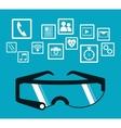 smart glasses wearable technology blue background vector image