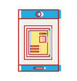 smartphone technology with document information vector image vector image