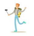 smiling tourists man with backpack standing and vector image vector image
