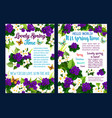 spring flower card with floral frame and butterfly vector image vector image