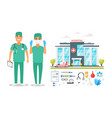 surgeon man and woman characters vector image