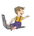 The boy sits with his laptop vector image vector image