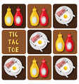Tic-Tac-Toe of bacon and fried egg and seasoning vector image