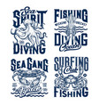 tshirt prints with underwater animals set vector image vector image