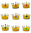 various style gold crown doodles vector image vector image