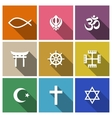 World religion symbols flat set vector image
