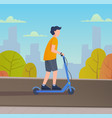 young man riding electric scooter vector image