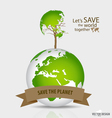 Save the world Tree shaped world map on a globe vector image