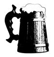 Silhouette beer mug vector image