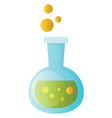 a chemical beaker with green fluid in it on white vector image vector image