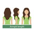 armpit length hair vector image vector image
