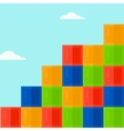 Background of colorful cubes on blue sky vector image