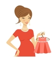 Beautiful mom to be holding dress vector image vector image
