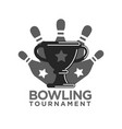 bowling tournament promotional monochrome logotype vector image