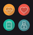 cardiology flat linear long shadow icons set vector image