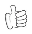 cartoon hand finger thumb up vector image