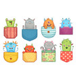cartoon pocket monster funny monsters in pockets vector image vector image