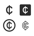 cedi currency symbol set vector image vector image