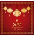 chinese new year 2017 greeting card lanterns vector image