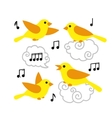 Collection of cute cartoon birds and notes in the vector image vector image