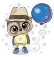 cute cartoon owl boy with balloon vector image vector image