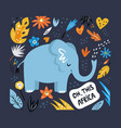 cute hand drawn elephant character with decoration vector image vector image