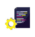document with programming code and industry gear vector image vector image