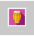 Drum flat stamp with long shadow vector image vector image