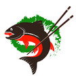 fish and chopsticks for sushi vector image vector image