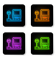 glowing neon bus stop icon isolated on white vector image vector image